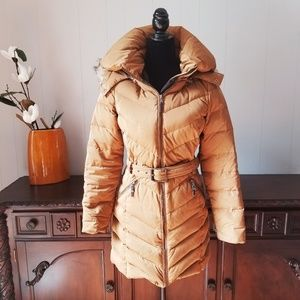 Zara Tan Camel Down Winter Coat Jacket Size Small